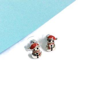 Brighton Tiny Snowman Stud Holiday Earrings NWOT